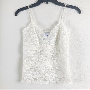 A&F Sheer Lace cream tank top